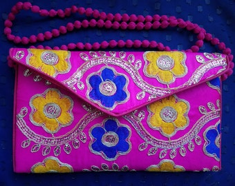 embroidered clutch embroidered evening bag India pink sequin