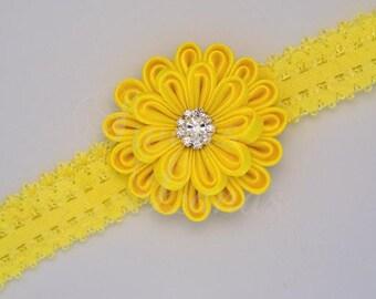 Kanzashi hair Ribbon, satin flower, headband, baby, kanzashi, fabric flower, rhinestone