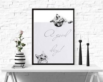 Nursery Printable, Сat  print,  Instant Download,  Print of an animal, Animal illustrations, Printable Art, Nursery Decor, Baby Shower Gift