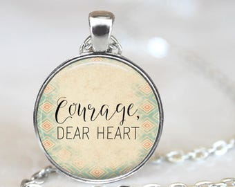 C S Lewis Courage Dear Heart Quote Pendant Necklace with Chain and organza gift bag Positive Affirmation Vibe Birthday Christmas Present