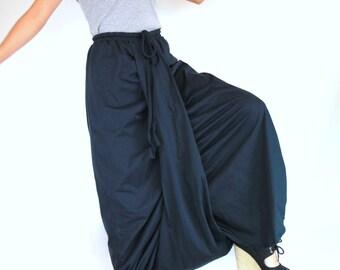Women Navy Blue Harem Pants Sarouel Baggy Festival Loose Genie Pants -  Aladdin Pants - 22046