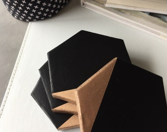 Handmade Rose Gold & Black Concrete Coasters (set of 4)