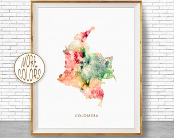 Colombia Map Print, Colombia Print, Office Art Print, Watercolor Map Art, Map Artwork, Office Decorations, Country Map, Art Print Zone