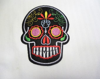 Black Sugar Skull Dia de los Muertos large iron on patch customize jeans jacket vest tattoo rockabilly hipster Us Seller Free US Shipping