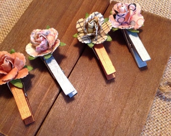 MINI DECO CLOTHESPINS, decorative clothespin , desk decor , office accessories , the office , photo display , paper flower , office decor