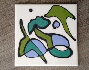 Single tile hand-painted abstract ceramic