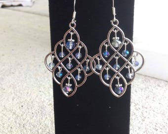 Silver Crystal Lattice Chandelier Earrings, Wedding Jewelry, Boho, Bohemian, Elegant