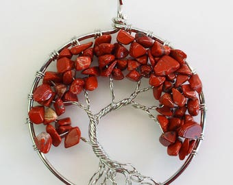 Tree of Life Pendant Necklace - Red Jasper