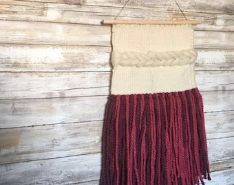 Pink and Purple fringed hand woven wall hanging with soumak stitching