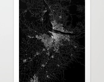 PORTLAND map poster, portland map print, map of portland, potland art poster, portland black and white, art map
