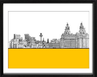 Liverpool Skyline Art Print Poster Pierhead England