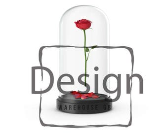 Beauty and the Beast Rose in Glass Transparent PNG Rose Dome Clipart Beauty and the Beast Rose Display Case Overlay Fairytale Glass Dome