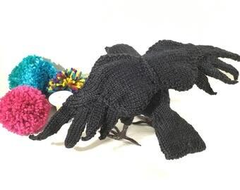 Crow, cotton crow Vegan Bird...medium sized Knitted crow, collectible