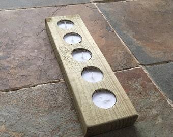 Wooden candle holder, rustic tealight holder, modern candle holder, tealight centerpiece, candle holder set, rustic tealight holder