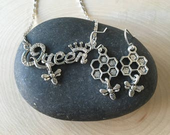 Queen Bee necklace and earrings