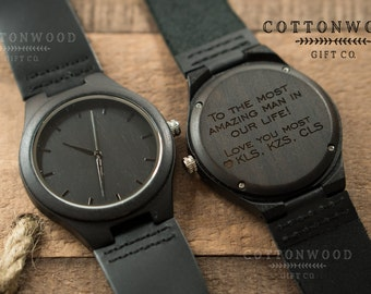 Anniversary Gifts for Men, Mens Wood Watches, Natural Ebony Wooden Watch, Engraved Wood Watch, Personalized Anniversary Gift, Groomsmen Gift