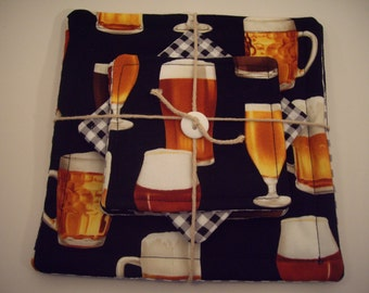 Beer Lovers Hot Pads/Pot Holders and Coaster set is perfect for your kitchen, bar, or game room!