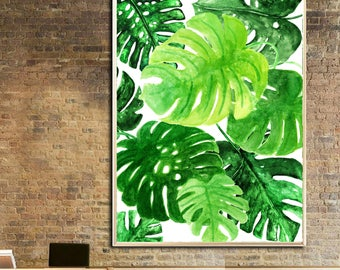 Monstera wall art Monstera art print Monstera watercolor art print Monstera poster  Monstera home decor Monstera painting Monstera leaf art