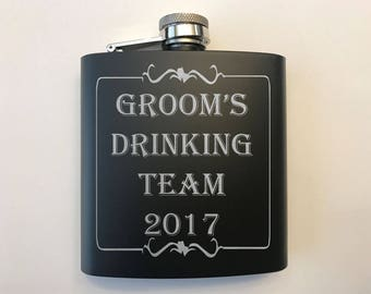 Groomsman Gift - Bachelor Party Flasks - Groom's Drinking Team Flasks- Wedding Party Gifts - Groomsmen Flask Gifts - Groomsman Gift Idea