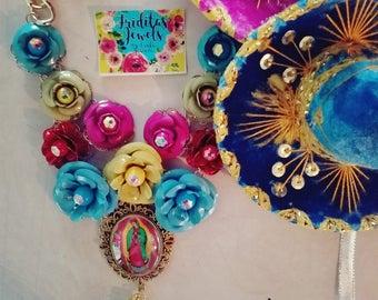 Beautiful Virgencita De Guadalupe flower statement necklace