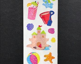 Sandylion Stickers Vintage Beach, Sand Castle, Sea Shell, Sea Star, Sun  (1 strip)