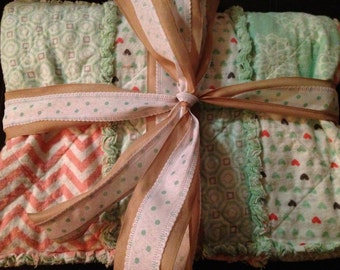 Handmade Throw Size Rag Quilt
