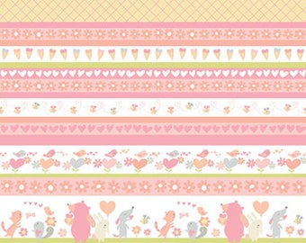 SALE by the yard Sweetheart - Stripe Posie Fabric by David Walker for Free Spirit Fabrics - Sold by 1 Yard