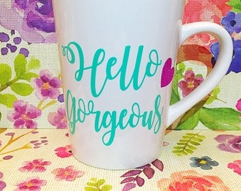 Hello gorgeous mug with glitter heart
