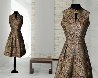 Handwoven Gold and bronze brocade designer collection, Made to measure, Tailor made collection