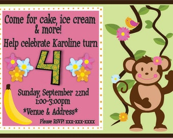 Monkey Kids Birthday Invitation