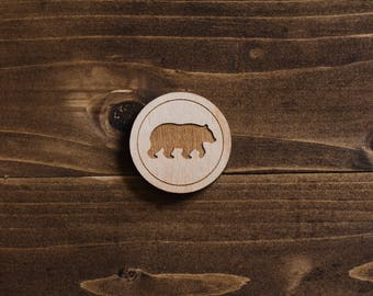 Wooden Bear Silhouette Pin - Laser Cut Pin