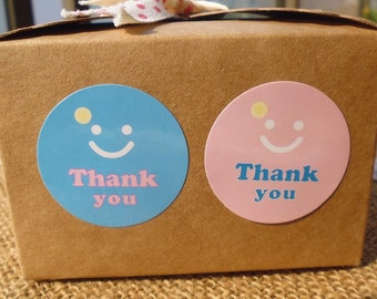 Glossy Smile Pink/Blue Circle Thank You Stickers. 60 Stickers! Seal stickers.