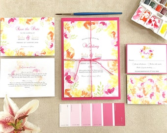 Summer Brights // customisable summer floral watercolour wedding invitation suite