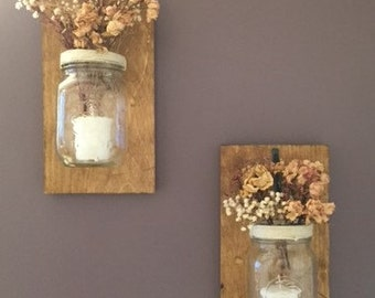 Decorative handmade Mason Jar Candle Holders (set of 2)