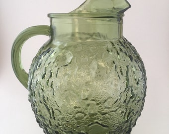 Vintage Anchor Hocking Green Ball Pitcher