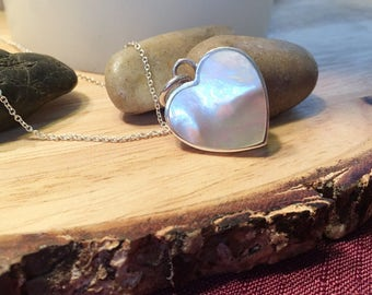 "Sterling Mother Of Pearl Heart Necklace 16"" Sterling Chain/Ask for Free Shipping Coupon! *Limited Quantities Available*"
