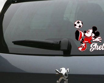 Car Decal, Personalized Mickey Mouse Decal, Mickey Soccer Player Decal, Soccer Decal, Sports Decal, Personalized Soccer Decal