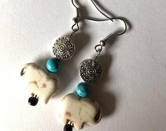 Silver Sun and Elephant Dangle Earrings