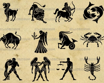 Digital SVG PNG JPG Zodiac Signs, silhouette, vector, clipart, instant download