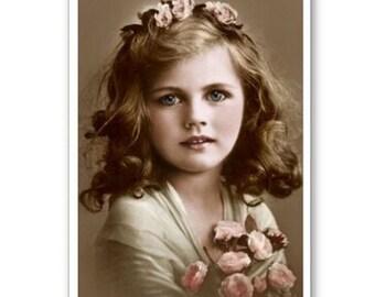 Personalised Handmade Greetings Card ~ Vintage Postcard of A Child  #25