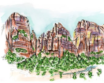 Zion :  Giclee watercolor print