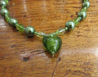 Green Glass Beaded Ndecklace