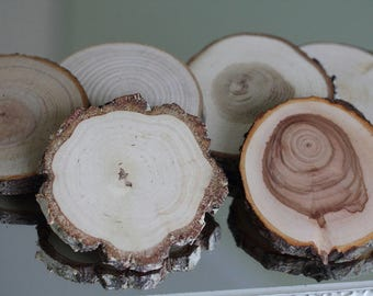 Set of 20 wooden slices , wedding decor, wooden slabs, wood circles, tree coasters, log slices, woodland wedding decor, slices with bark.