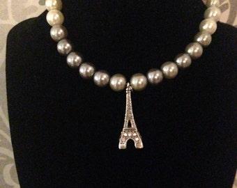Pearl Choker with Eiffel Tower Charm