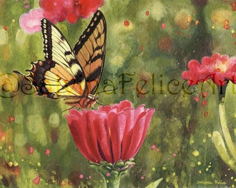 """Digital fine art, floral print from my original acrylic painting """"summer"""", art, art print, butterfly, flowers painting"""