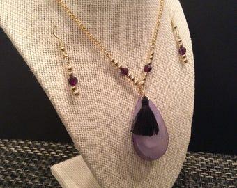 Lilac Teardrop Pendant Necklace
