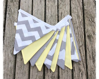 Grey & lemon yellow fabric bunting, nursery bunting, baby bunting, nursery decor, baby shower, newborn, children's decor
