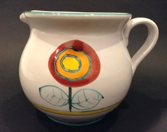 Vintage Designed Himark Giftware Water Pitcher Made in Italy of Terra Cotta Clay White Glazed with Aqua Trim and Two Floral Patterns