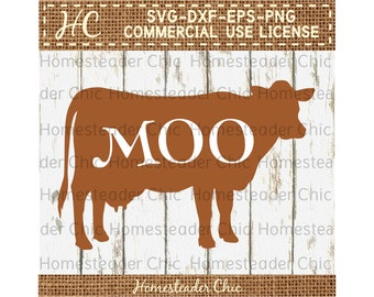 Dairy Cow SVG Dairy Cow Moo Cut File Commercial Use svg dxf eps png-digital file-cutting files-svg files-dxf files-farm svg-dairy cow decor