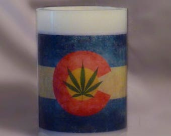 Colorado Flag Hippy Hurricane Candle
